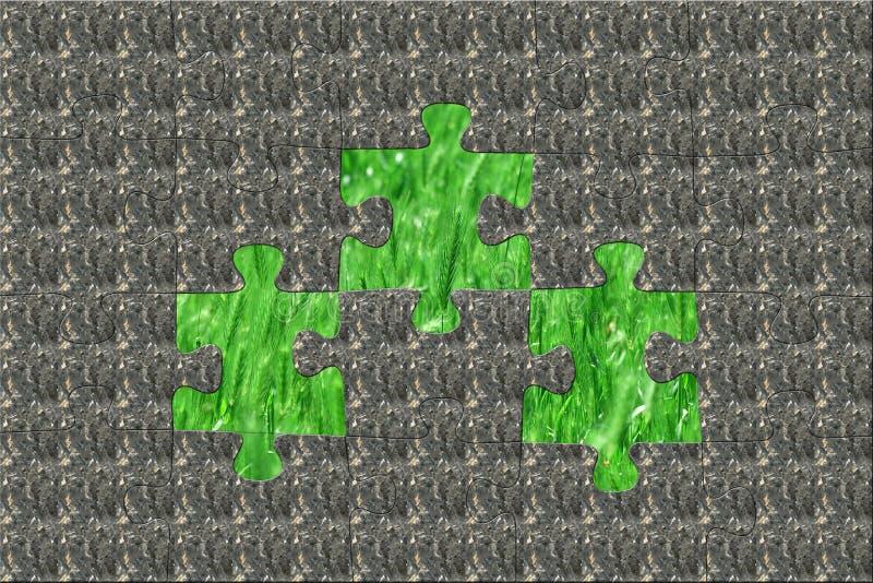 Steinpuzzlespiel, welches die reine Natur versteckt stock abbildung