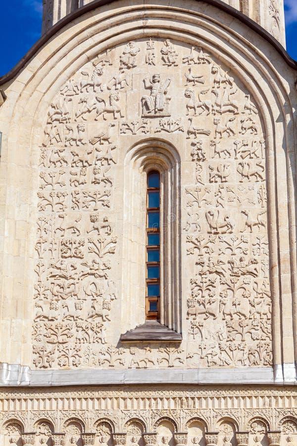 Steinschnitzen auf den Wänden von Heiliges Demetrius-Kathedrale, Vladimi lizenzfreies stockfoto