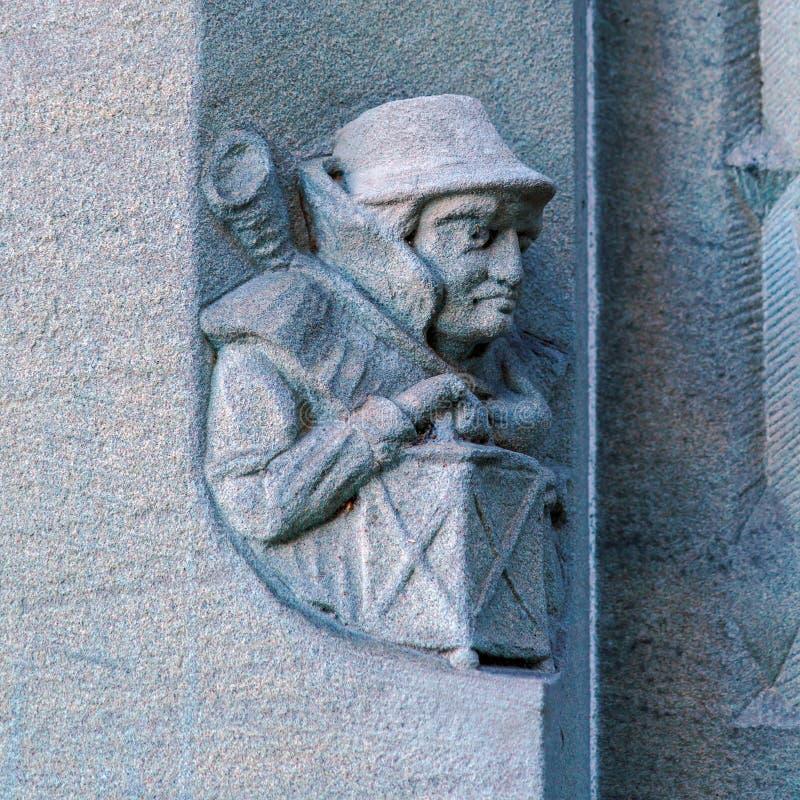 Steinschnitzen von Grossmunster-Kirche, Zürich, die Schweiz stockfoto