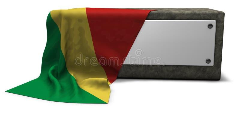 Steinsockel und Flagge des Kongos vektor abbildung