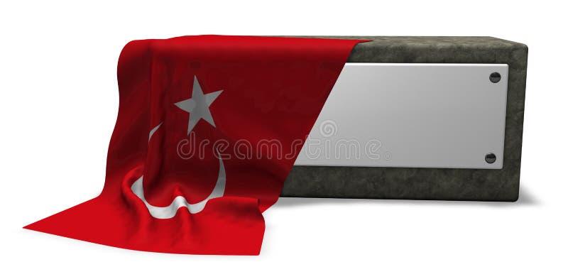 Steinsockel und Flagge des Truthahns vektor abbildung