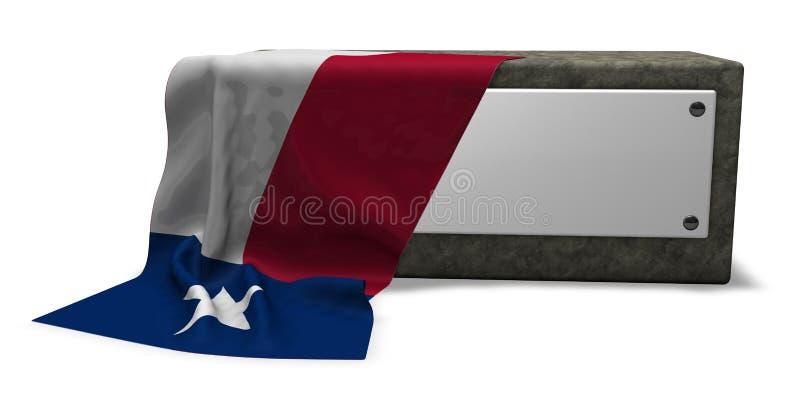 Steinsockel und Flagge von Texas stock abbildung
