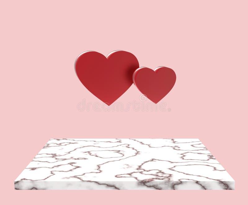 Steintabelle mit schönem Herzen zwei auf Pastellhintergrund lizenzfreie stockfotos