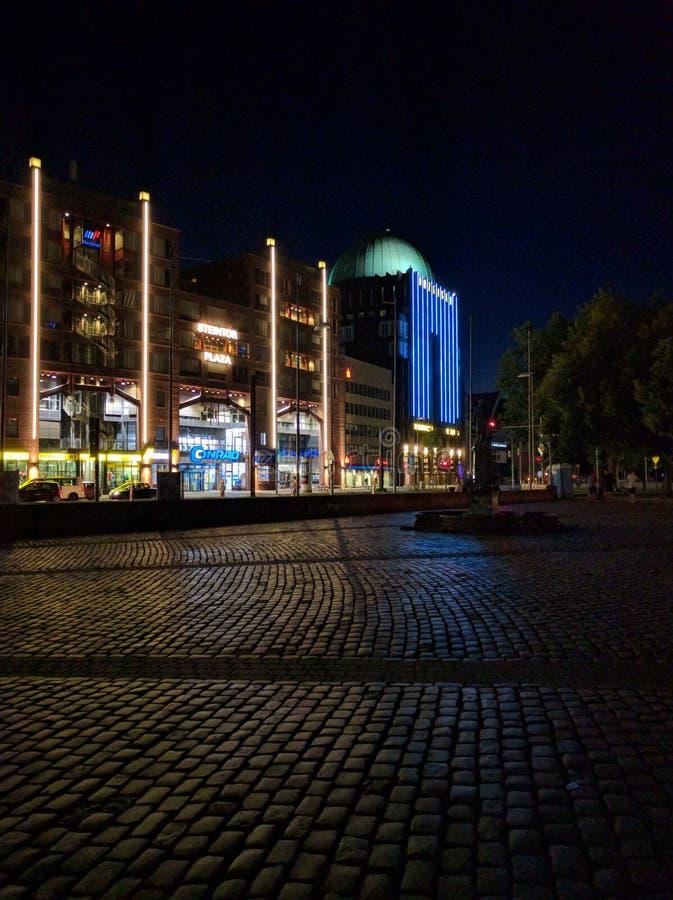 Steintor hannover på natten royaltyfria foton