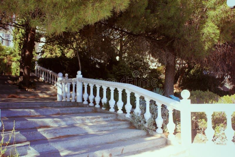 Steintreppe im Garten, eine schöne Grenze des wilden Steins, lizenzfreies stockbild