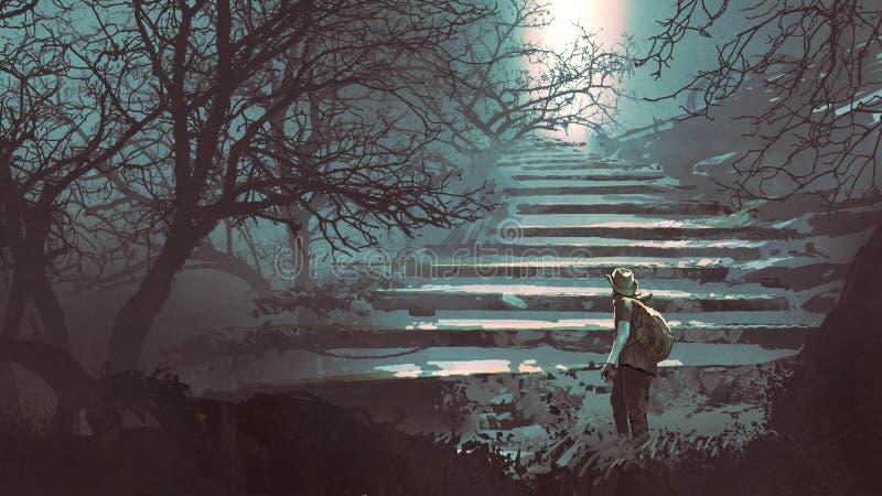 Steintreppe im mysteriösen Wald vektor abbildung