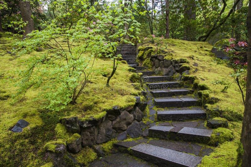 Steintreppenhaus in einem Garten lizenzfreies stockfoto
