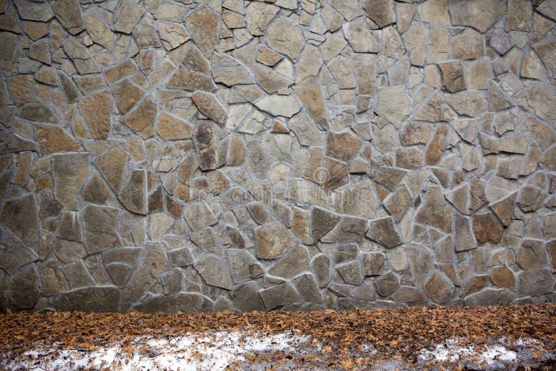 Steinwand-Straßenschnee niemand Hintergrund stockfotografie