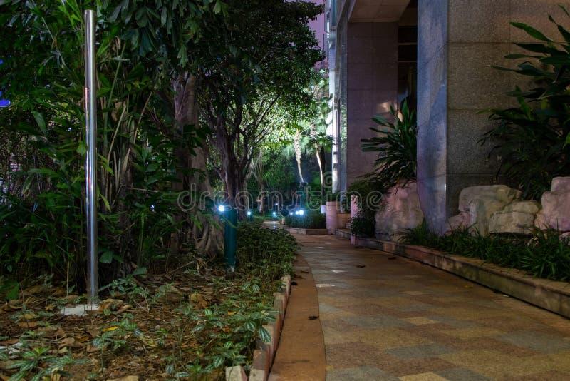 Steinweg nahe dem Haus Nachtbeleuchtung, Lichter werden beleuchtet stockbild