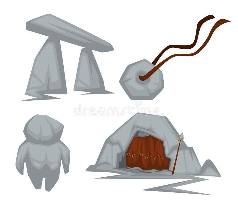 Steinzeitalterattribute höhlen aus und Amulettbogen und -spielzeug lizenzfreie abbildung