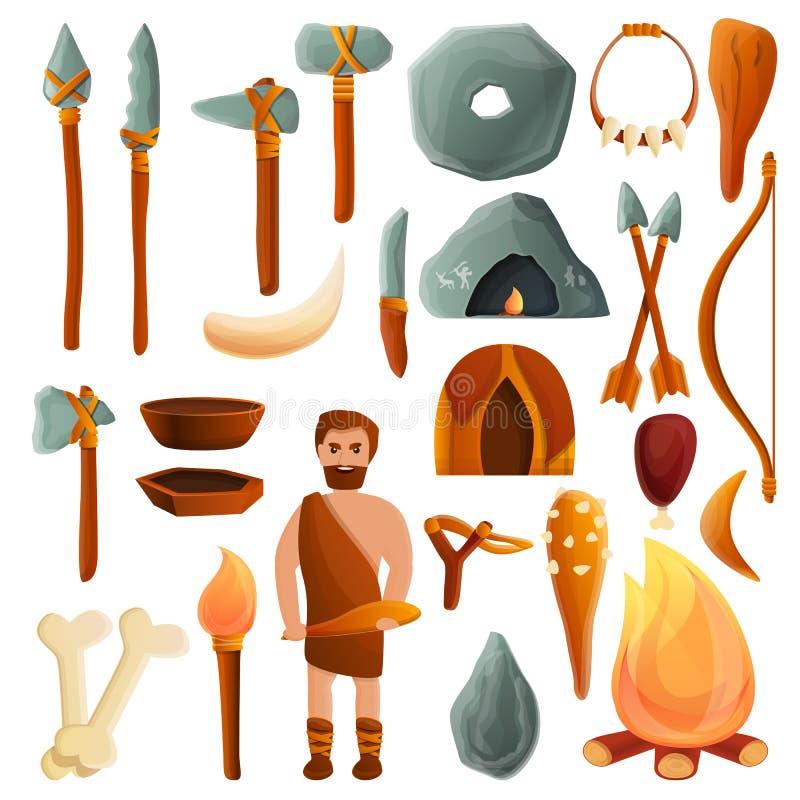 Steinzeitalterikonen Satz, Karikaturart stock abbildung