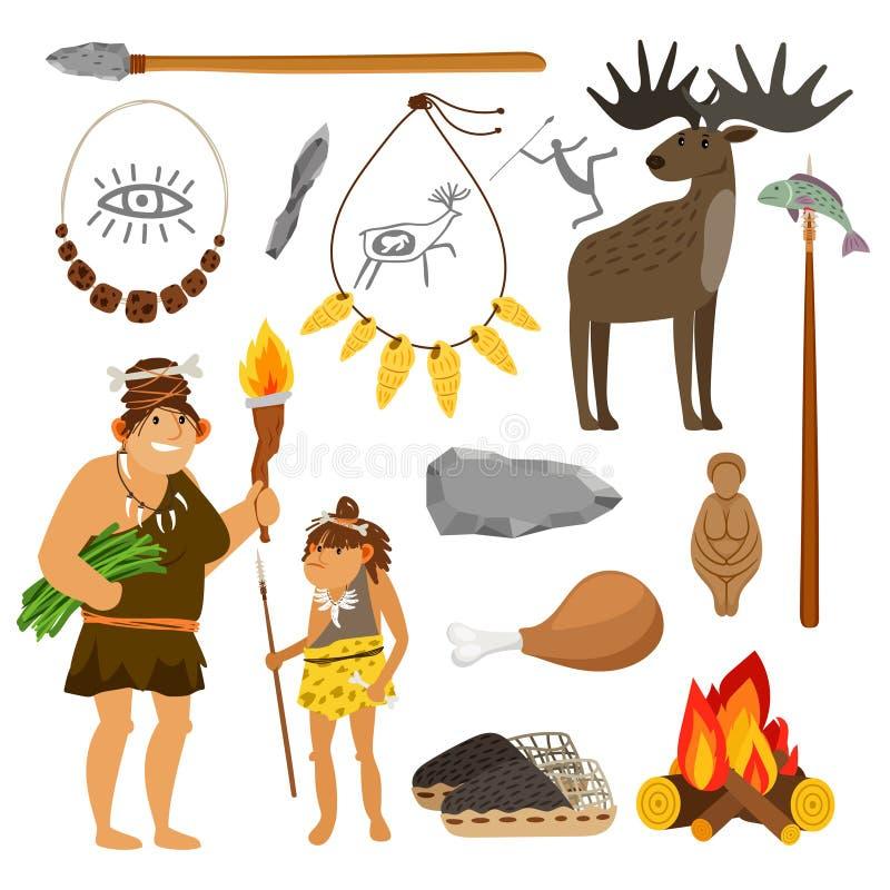 Steinzeitalterleute und -werkzeuge vektor abbildung
