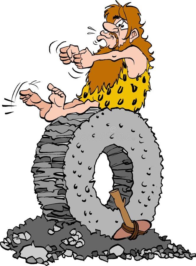 Steinzeitaltermann, der auf einem Steinrad sitzt vektor abbildung