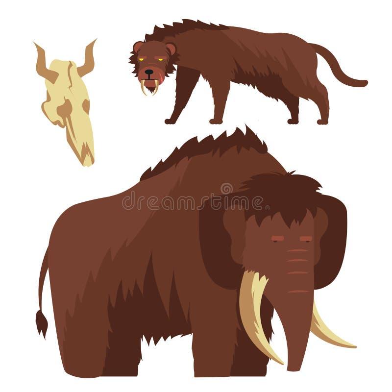 Steinzeitaltertiere Mammut- und Säbel-gezahnte Tigervektorillustration vektor abbildung