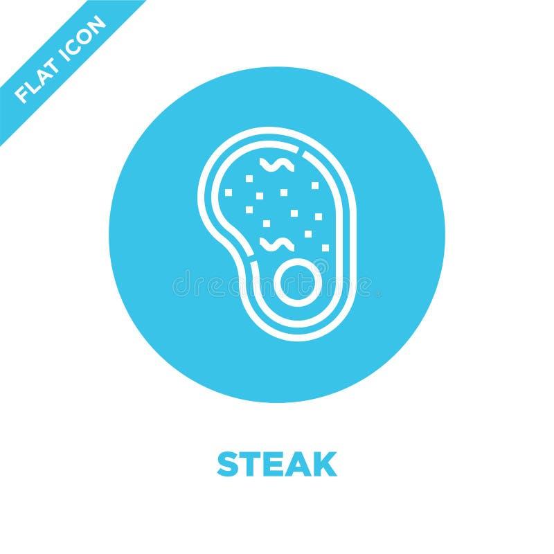 stek ikony wektor od bbq i grilla kolekcji Cienka kreskowa stku konturu ikony wektoru ilustracja Liniowy symbol dla używa na siec royalty ilustracja