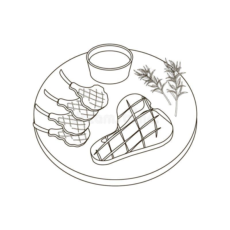 Stek kolorystyki mięsne strony ilustracja wektor
