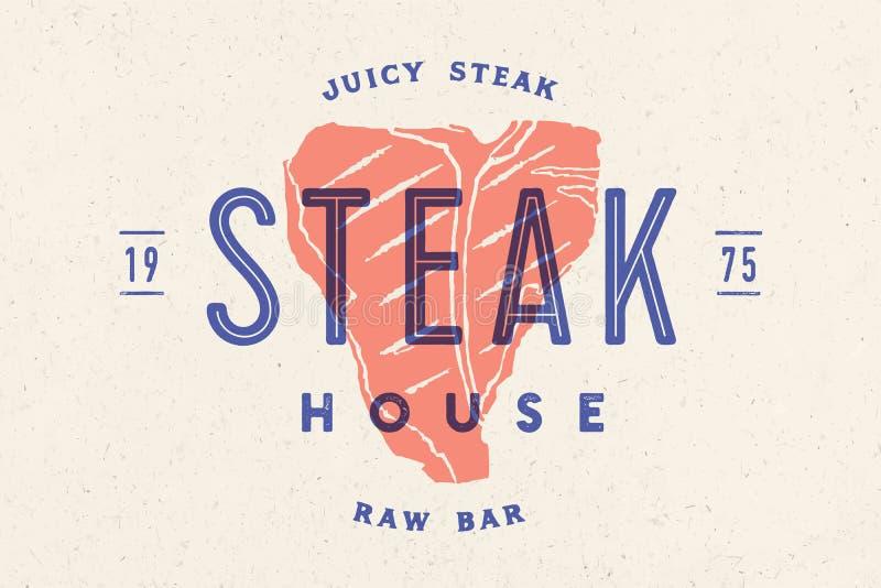 Stek, logo, mięsna etykietka Logo z stek sylwetką ilustracja wektor