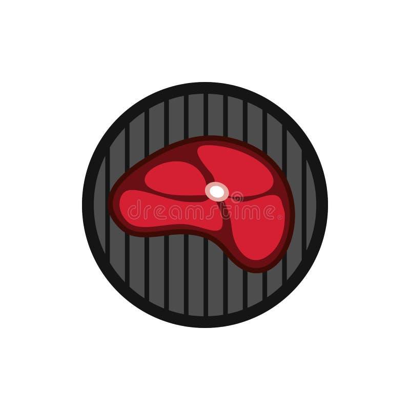 Stek na grill ikonie, mieszkanie styl royalty ilustracja
