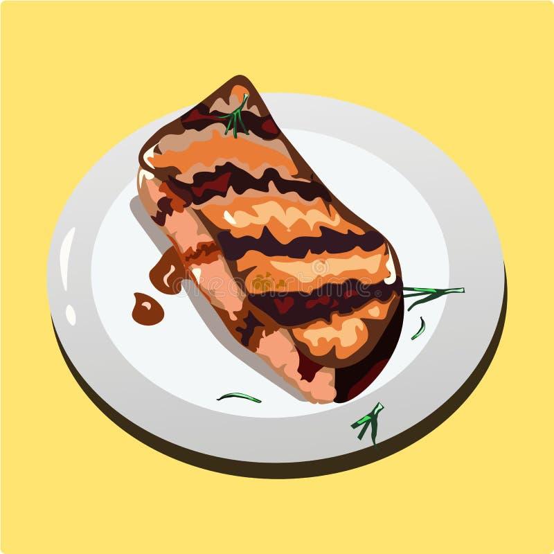 Stek na talerzu piec na grillu soczysty stek royalty ilustracja