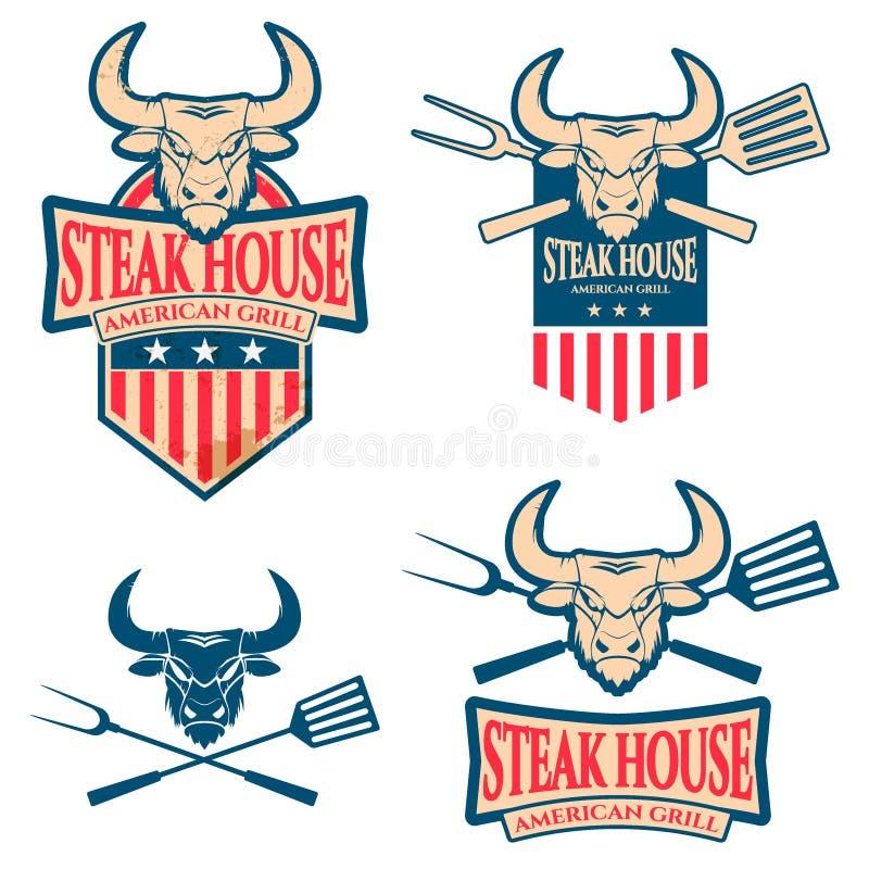 Stek Restauracyjna etykietka royalty ilustracja