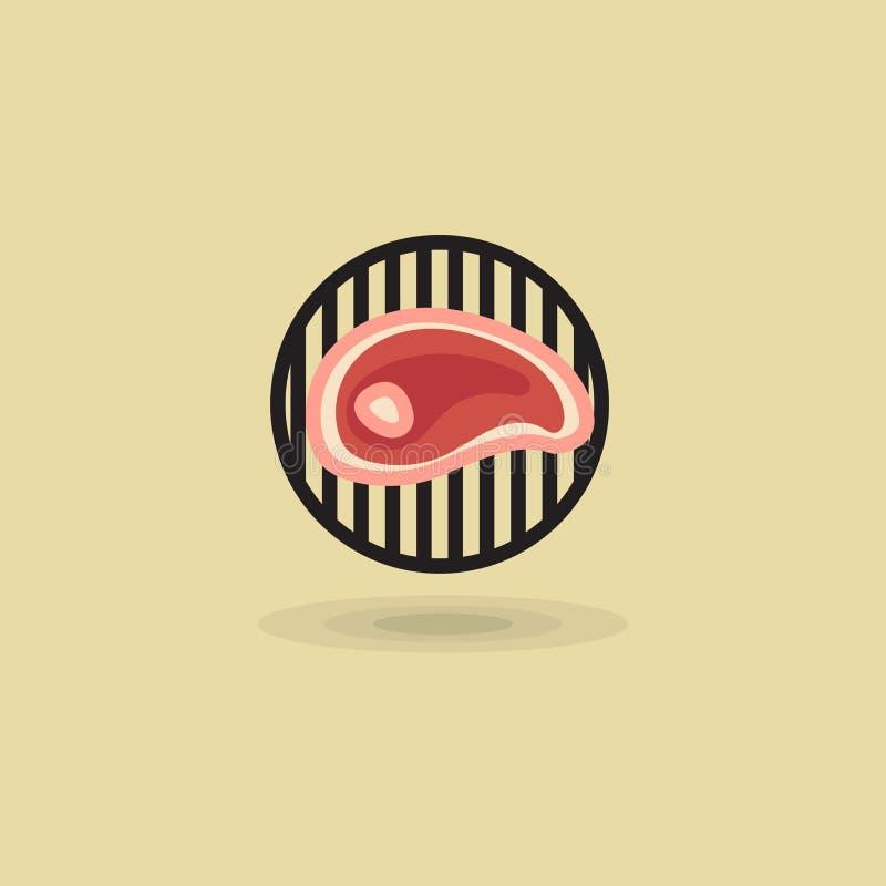 Stek wołowina na grilla grilla wektoru ikonie Ilustracja mięso na grillu ilustracji