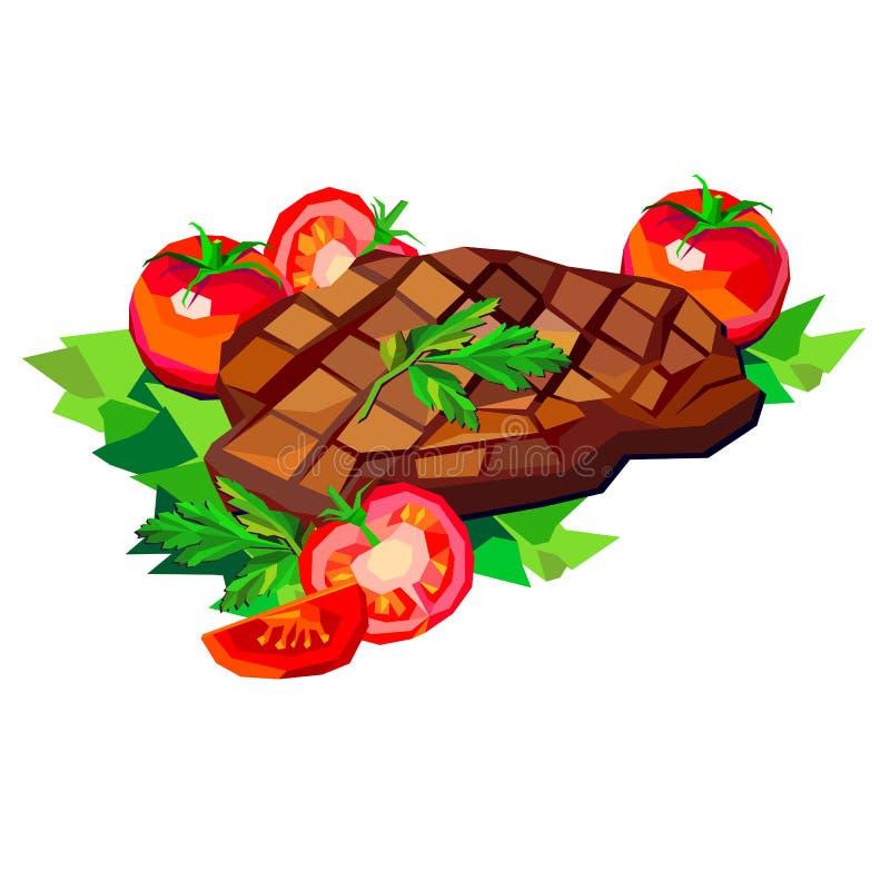 Stek wołowiny wektorowego mięsnego karmowego posiłku grilla obiadowa pieczeń ilustracji