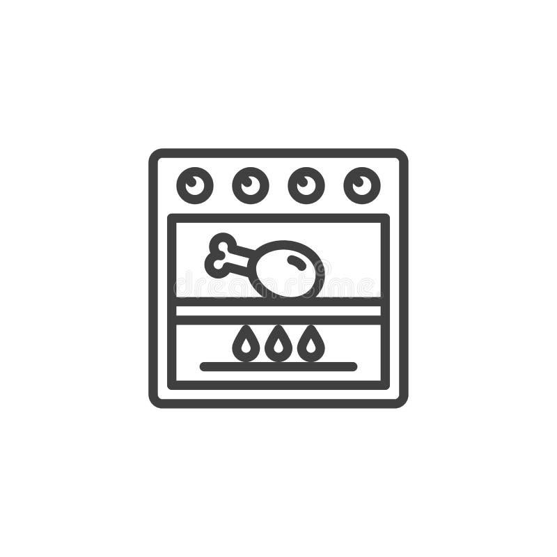 Steka höna i gallerugnlinjen symbol stock illustrationer