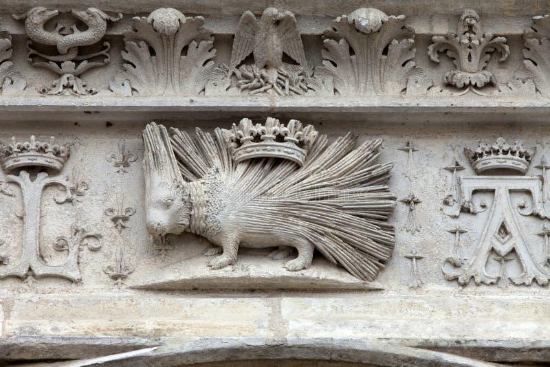 Stekelvarken emblemof het Huis van Orléans. royalty-vrije stock afbeeldingen