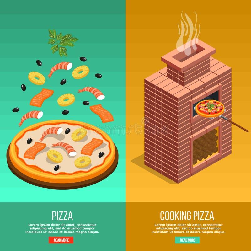Stekhet baneruppsättning för pizza royaltyfri illustrationer