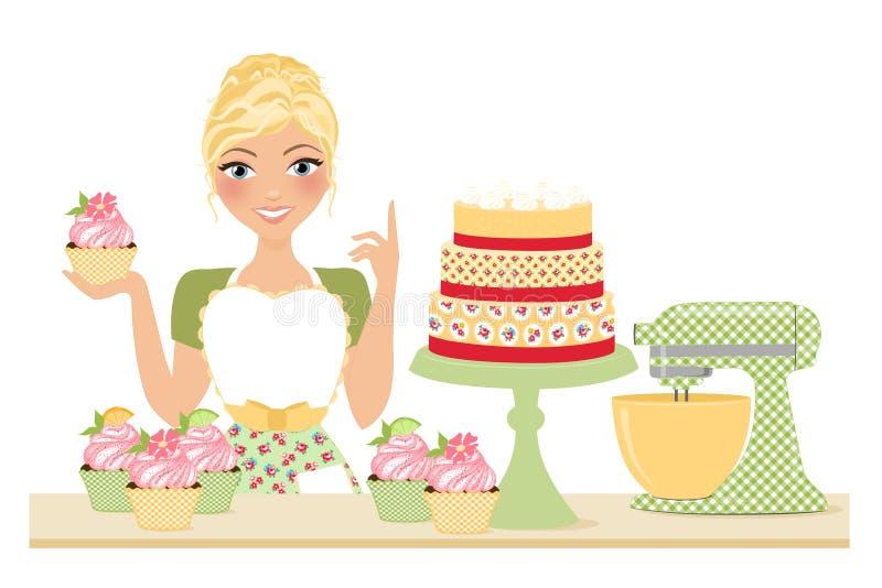 Stekhet kvinna för muffin royaltyfri illustrationer