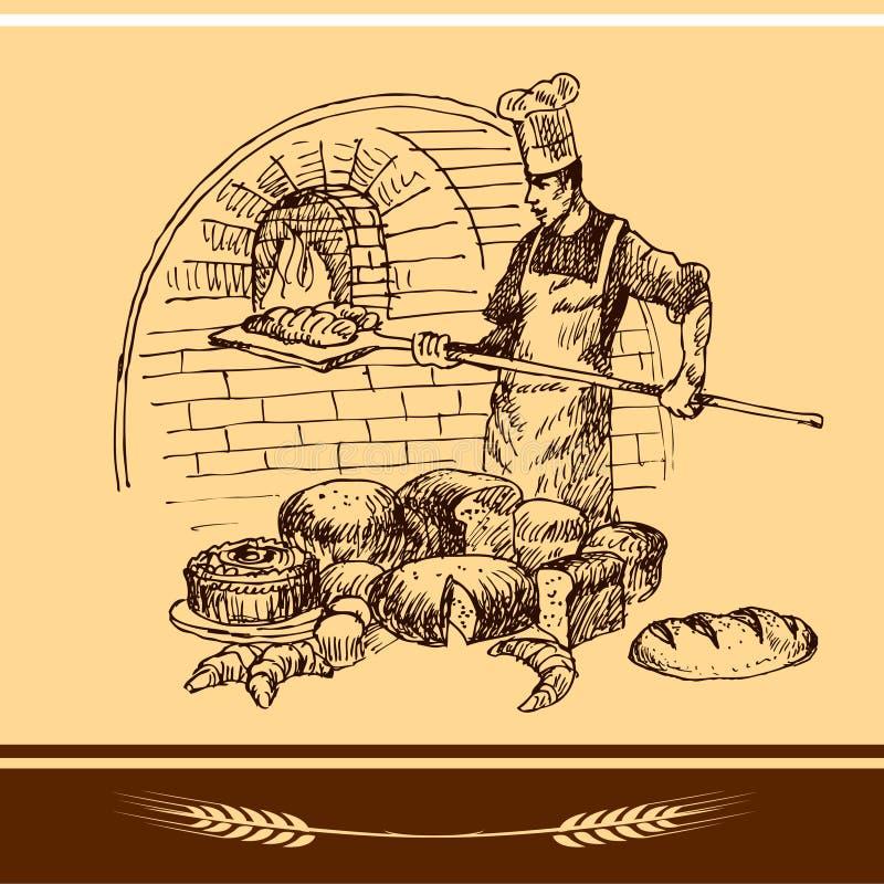 Stekhet panna för bagareholding royaltyfri illustrationer