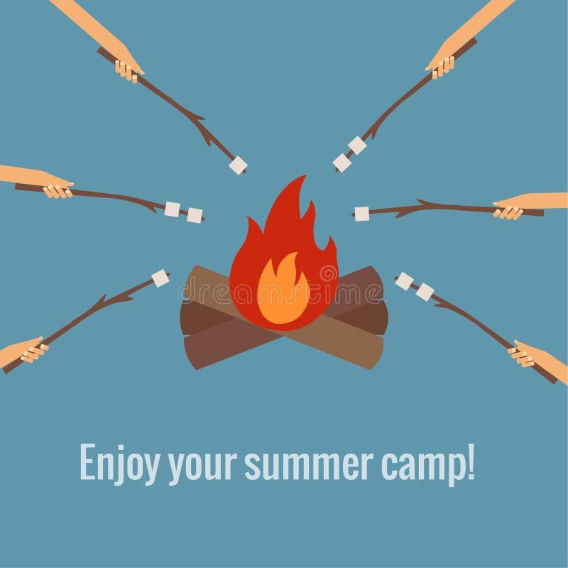 Stekheta marshmallower på att campa för brand stock illustrationer