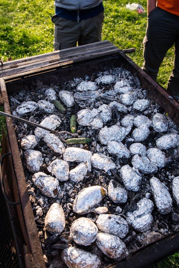 Stekheta potatisar och gurkor royaltyfri foto
