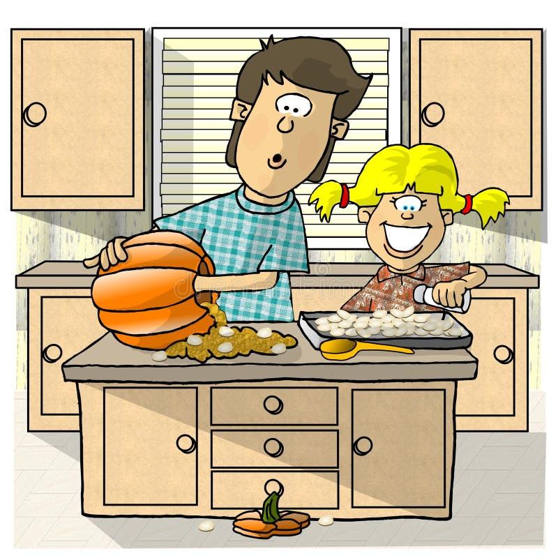 Download Stekhett frö för pumpa stock illustrationer. Illustration av flicka - 30682