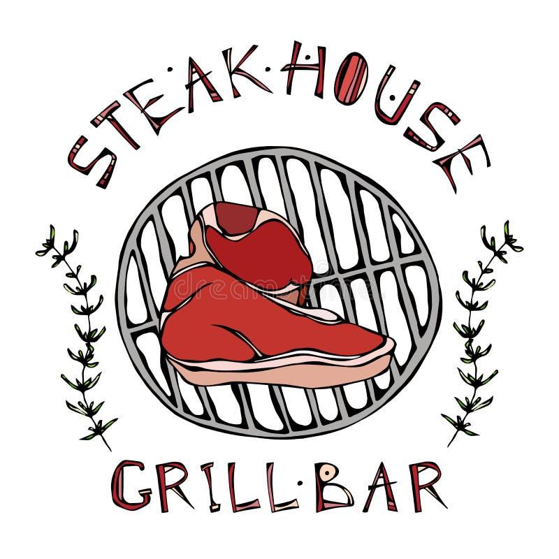 Stekhus- eller gallerstånglogo Porterhousebiff på ett galler Nötkött klippte med bokstäver i s-timjan Herb Frame Köttlogo för sla vektor illustrationer