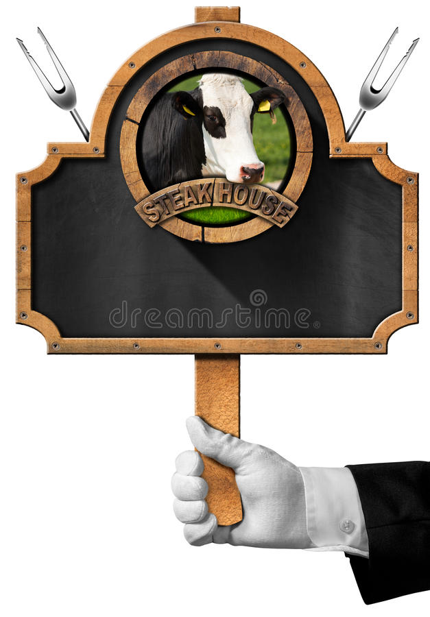 Stekhus - svart tavla med handen av uppassaren stock illustrationer