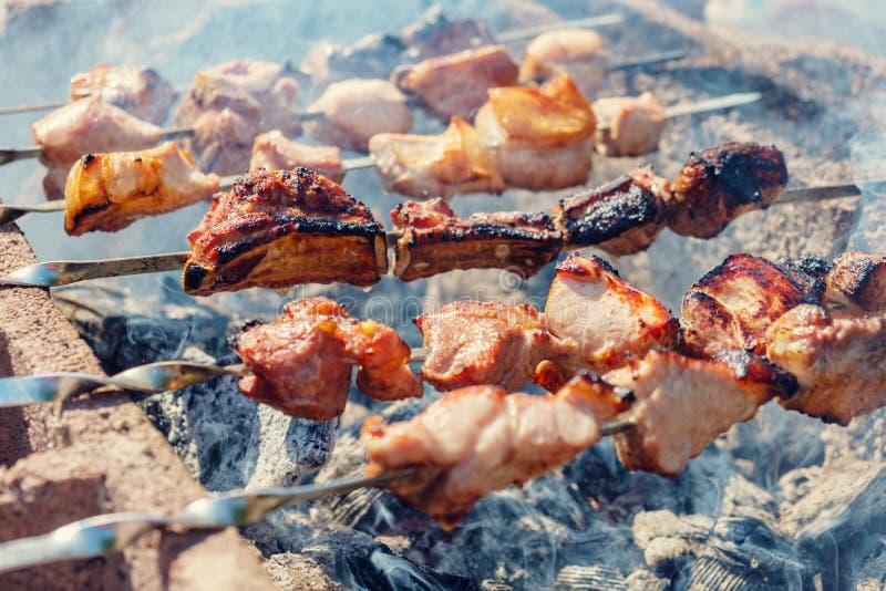 Steknålar stekte kött fotografering för bildbyråer