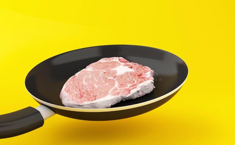 stekpanna 3d med nötköttbiff vektor illustrationer