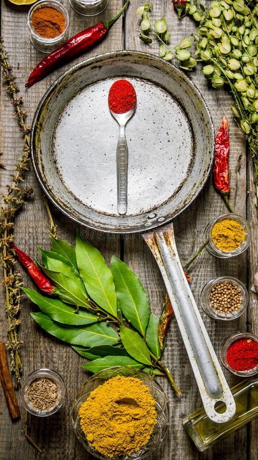Stekpanna med kryddor och örter trägrund tabell för djupfält royaltyfria foton