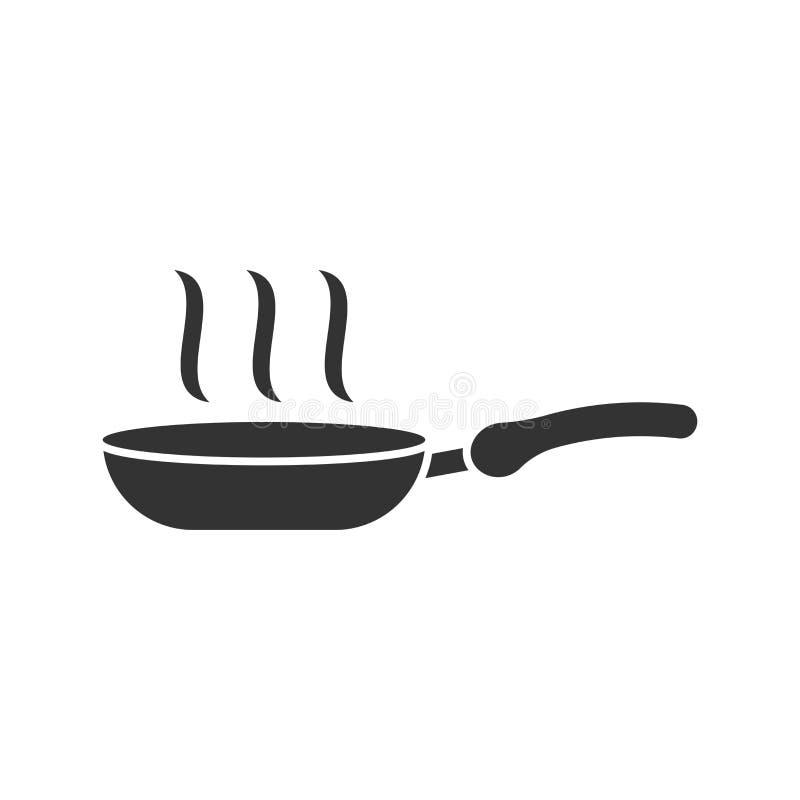 Stekpannasymbol i plan stil Laga mat pannaillustrationen på vit vektor illustrationer