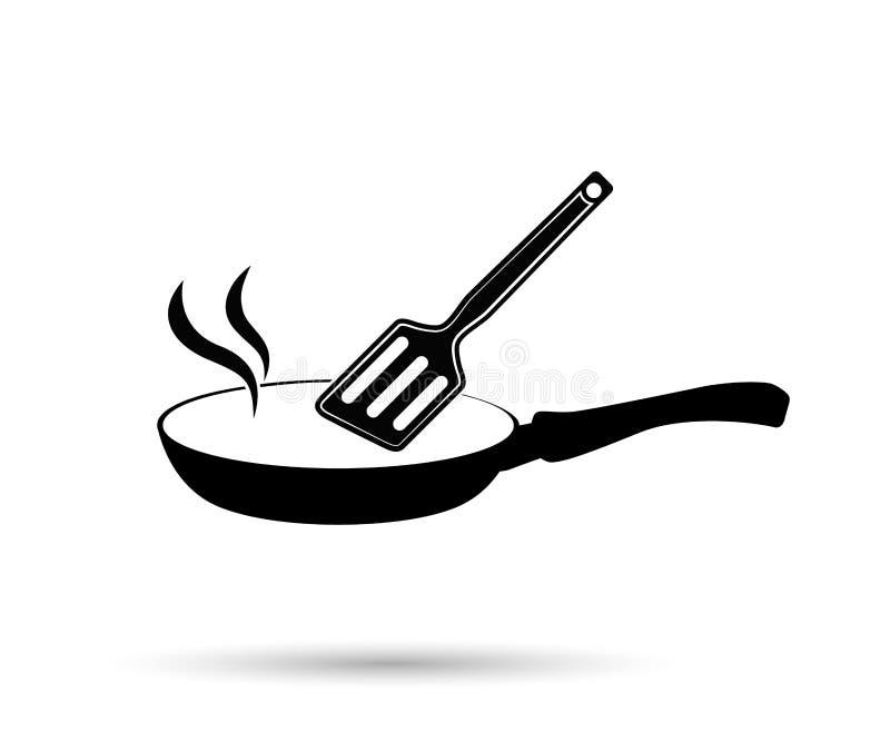 Stekpannasymbol Vektorsymbolspannor vektor illustrationer