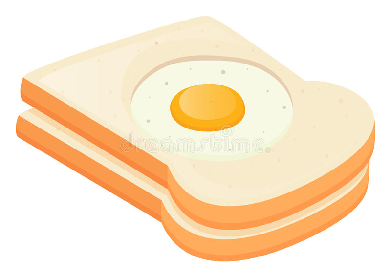 Stekt ägg i rostade bröd stock illustrationer