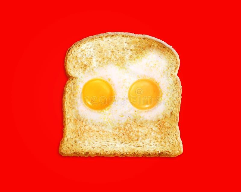 Stekt ägg med rostat bröd fotografering för bildbyråer