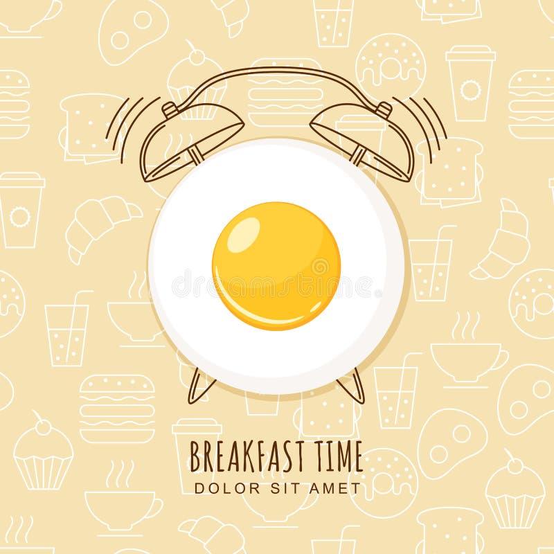 Stekt ägg och översiktsringklocka på sömlös bakgrund royaltyfri illustrationer