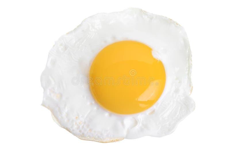 Stekt ägg som isoleras på vitbakgrund Top beskådar fotografering för bildbyråer