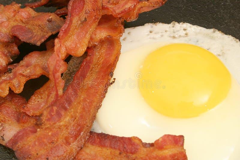 stekt baconägg royaltyfria foton