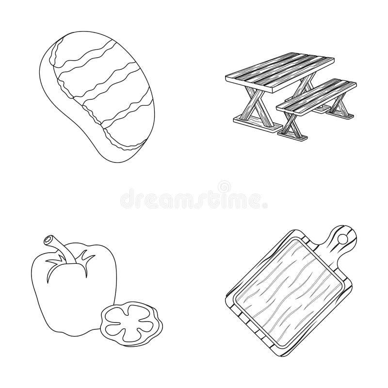 Stekt biff, tabell med en bänk för avkoppling, söt peppar, skärbräda Symboler för BBQ-uppsättningsamling i översiktsstil stock illustrationer