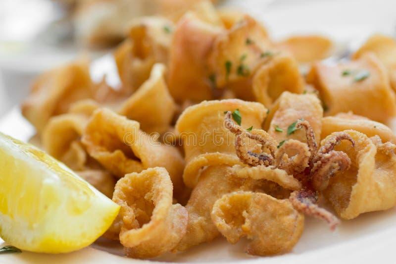 stekt calamari royaltyfria bilder
