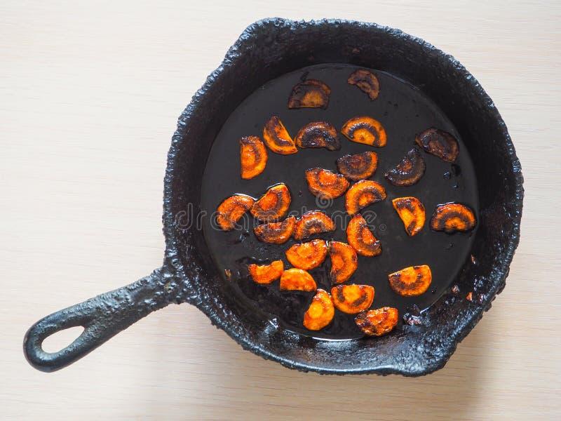 Stekt för länge lök i en panna Ett dåligt kök Begreppet av skadliga mat och carcinogent ämne royaltyfria bilder