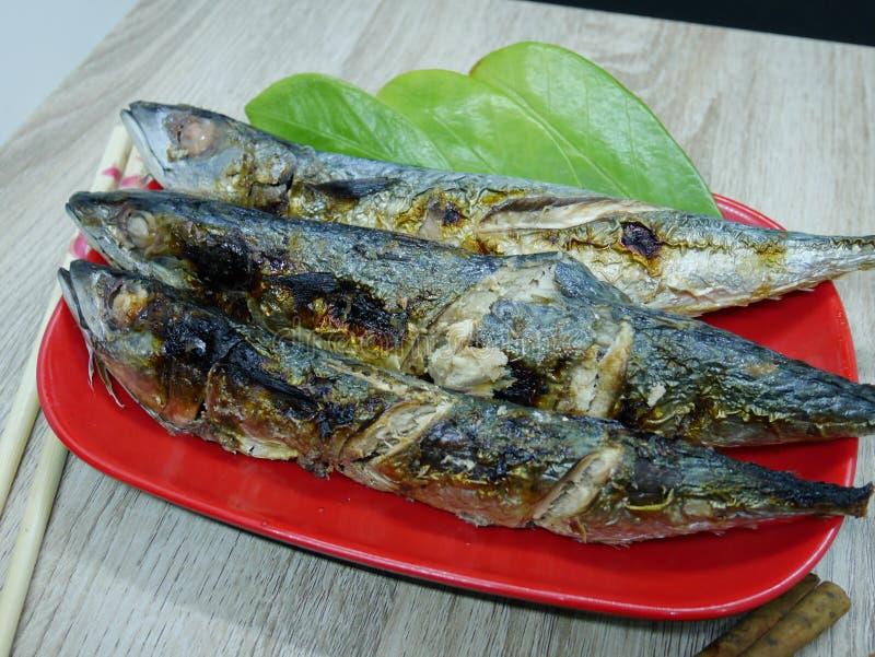 Stekt fisk med läcker sås som är klar att äta royaltyfria bilder